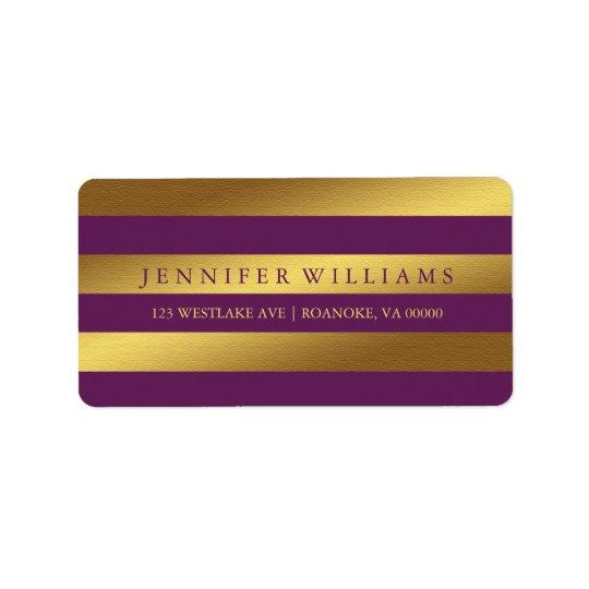 Plum Modern Faux Gold Foil Stripes Address Label