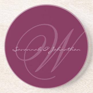 Plum Monogram Wedding Anniversary Coasters