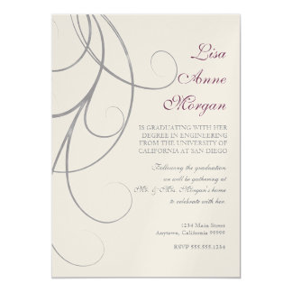 Plum n Silver Leaf Swirl Damask 2 Graduation Card