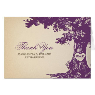 plum old oak tree wedding thank you cards
