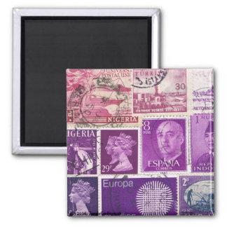 Plum Ombre Fridge Magnet, Postage Stamp Art Square Magnet