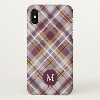 plum orange diagonal plaid monogrammed iPhone x case