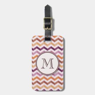 Plum Pink Candy Chevron Stripes and Round Monogram Luggage Tag