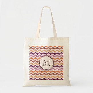 Plum Pink Candy Chevron Stripes and Round Monogram Tote Bag