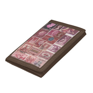 Plum Pink Ombre Wallet, Postage Stamp Collage Art Trifold Wallets