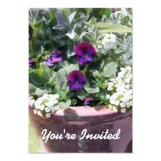 "Plum Pot of Mixed Flowers 5"" X 7"" Invitation Card"