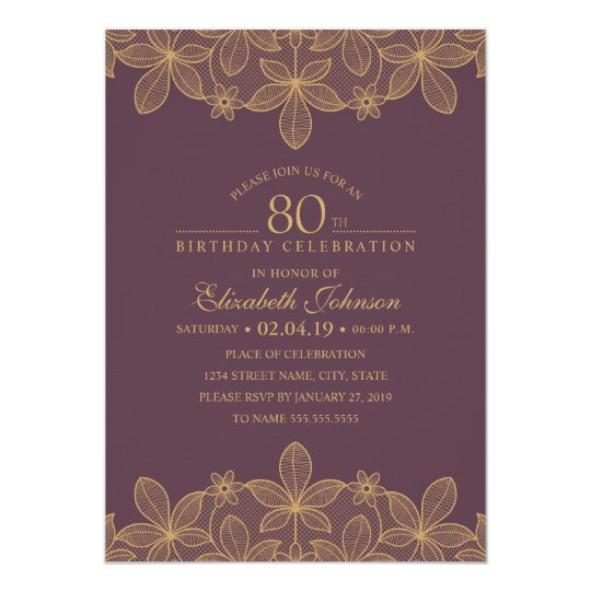 Plum Purple 80th Birthday Party Unique Golden Lace Card