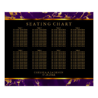Plum Purple and Gold Marble - Seating Chart Poster