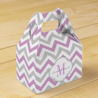 Plum Purple and Gray Chevron Pattern with Monogram Favour Box