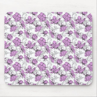 Plum Purple and Gray Vintage Floral Pattern Mousepads