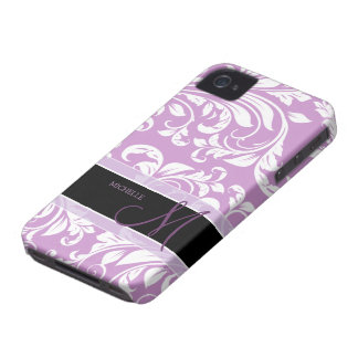 Plum Purple and white floral damask w/ monogram Case-Mate iPhone 4 Cases