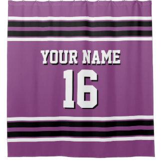 Plum Purple Black White Stripes Sports Jersey Shower Curtain