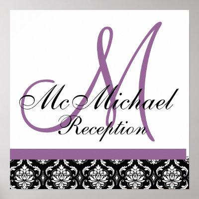 Plum Purple Damask Monogram Wedding Reception Print by monogramgallery