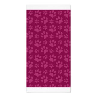 Plum purple dog paw print pattern personalized photo card