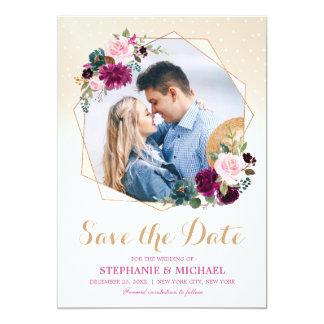 Plum Purple Floral Geometric Save the Date Card