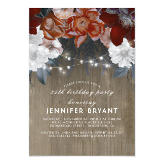 Plum Purple Floral Lights Rustic Birthday Party Card