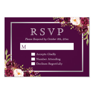 Plum Purple Floral Silver Grey Wedding RSVP Card