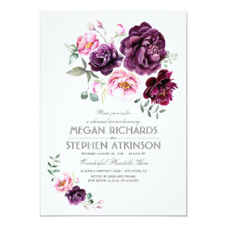 Plum Purple Floral Watercolor Rehearsal Dinner Card