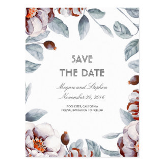 Plum Purple Floral Watercolors Boho Save the Date Postcard