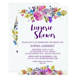 Plum Purple Garden Bridal Lingerie Shower Invite