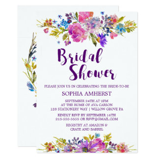 Plum Purple Garden Bridal Shower Invitation Card