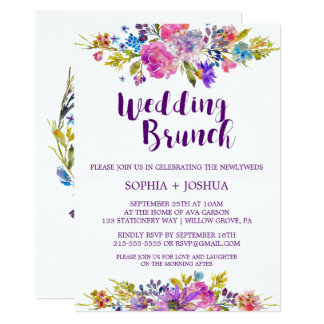 Plum Purple Garden Post Wedding Brunch Invitation