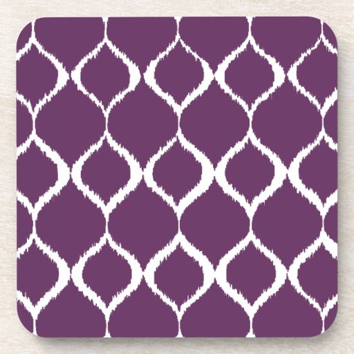 Plum Purple Geometric Ikat Tribal Print Pattern Beverage Coasters