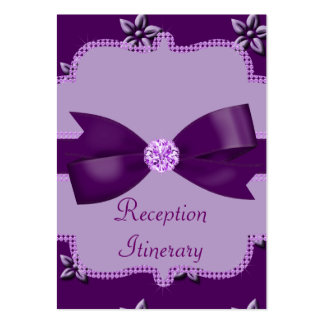 Plum Purple Island Flowers & Rhinestones Wedding Business Card Templates