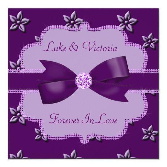 Plum Purple Island Flowers & Rhinestones Wedding Card
