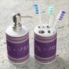 Plum Purple Lavender Mauve Striped Soap Dispenser And Toothbrush Holder