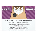 Plum Purple Let's Bowl Bowling Birthday Party Invites