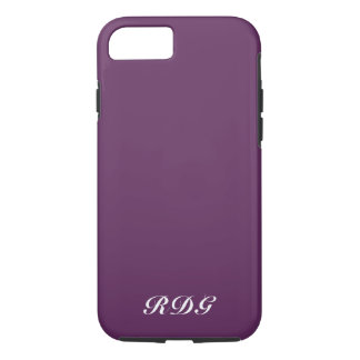 Plum Purple Modern Professional White Monogram iPhone 8/7 Case
