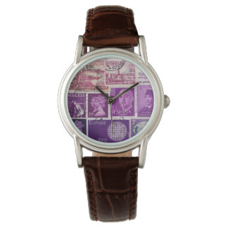 Plum Purple Ombre Wristwatch, Postage Stamp Art Wrist Watches