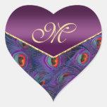 Plum Purple  Peacock Monogram Envelope Seal Heart Stickers