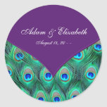 Plum Purple Peacock Wedding Favour Label