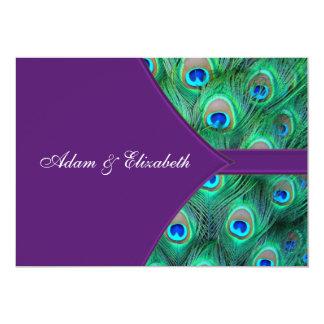 """Plum Purple Peacock Wedding Invitation 5"""" X 7"""" Invitation Card"""