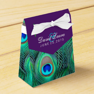 Plum Purple Peacock Wedding Wedding Favor Box