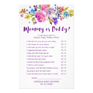 Plum Purple Pink & Blue Flower Mommy or Daddy Game Flyer