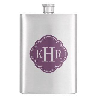 Plum Purple Quatrefoil Custom Monogram Hip Flask