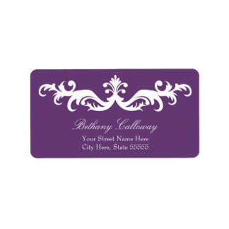 Plum Purple Return Address Label//Elegant Damask Address Label