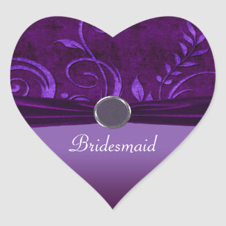 Plum & Purple Velvet Wedding Swirl Heart Sticker
