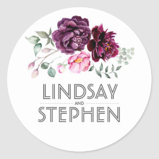 Plum Purple Watercolor Flowers Elegant Wedding Classic Round Sticker