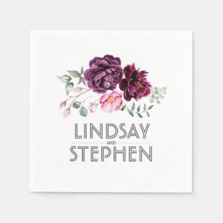Plum Purple Watercolor Flowers Wedding Disposable Serviette