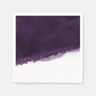 Plum Purple Watercolor & Gold Modern Chic Elegant Disposable Serviette