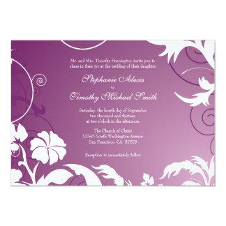 Plum purple white floral swirls wedding invitation