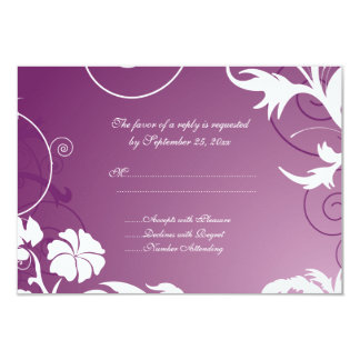 Plum purple white floral swirls wedding RSVP card