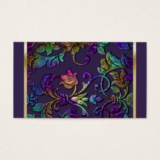 Plum Rainbow Metallic Embossed Look Damask Business Card