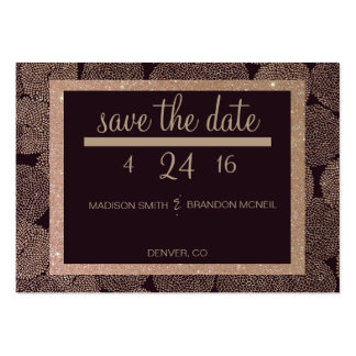 Plum & Rose Gold Save The Date Pack Of Chubby Business Cards