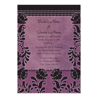 Plum Rose Purple and Black Elegant Wedding Invite