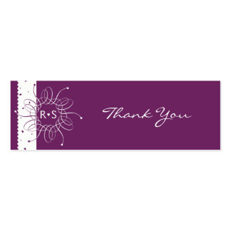 Plum Rosette Wedding Party Thank You Tag Pack Of Skinny Business Cards
